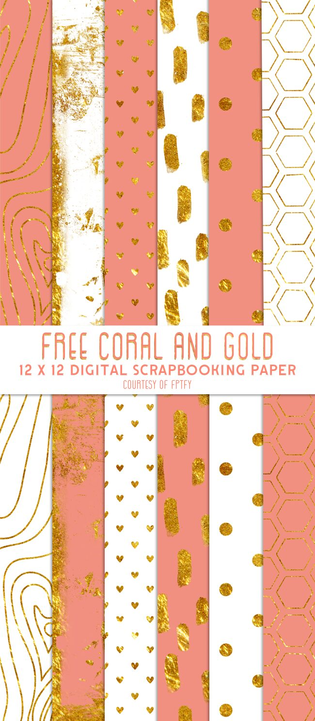 scrapbook-Free-Digital Paper-coral-Gold-and-white-FPTFY-1