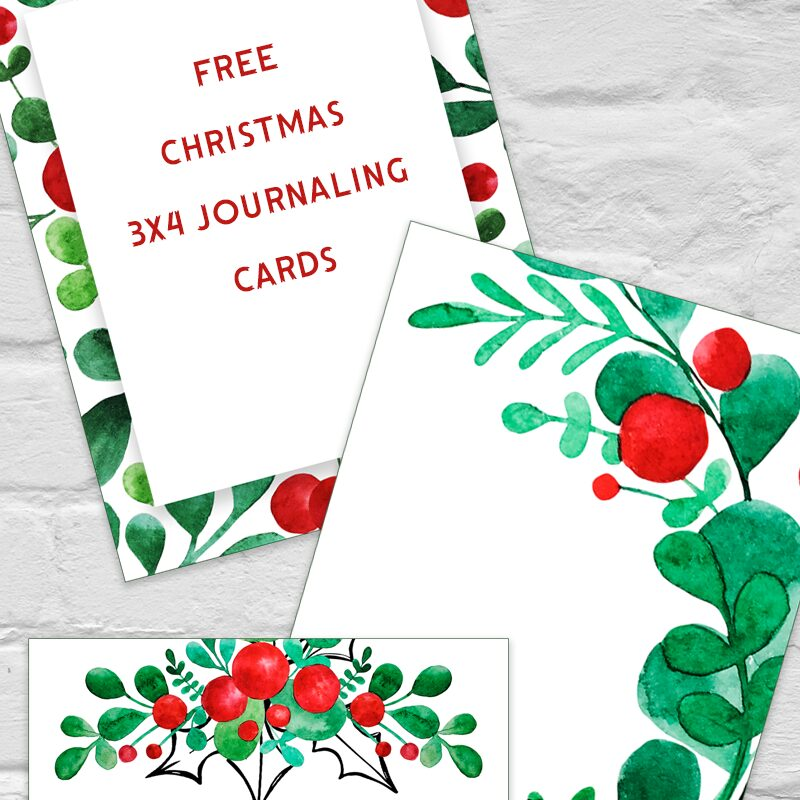 Free Christmas Holly 3x4 Journaling Cards
