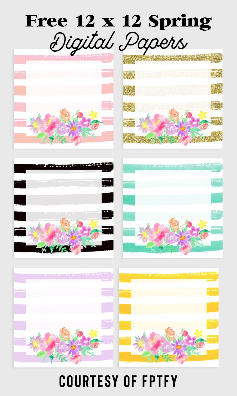Spring Flowers Digital Paper Backgrounds