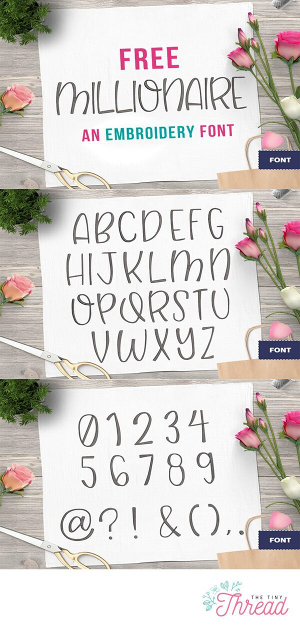 free embroidery font millionaire