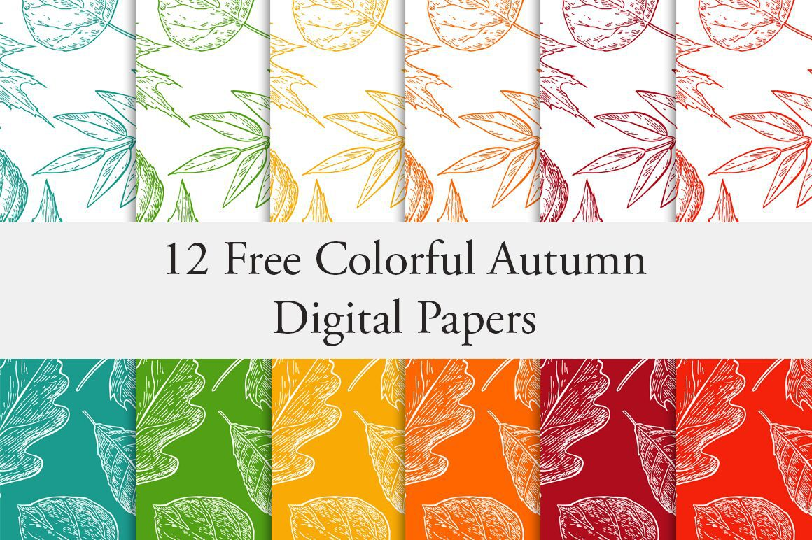 12 free colorful autumn digital papers