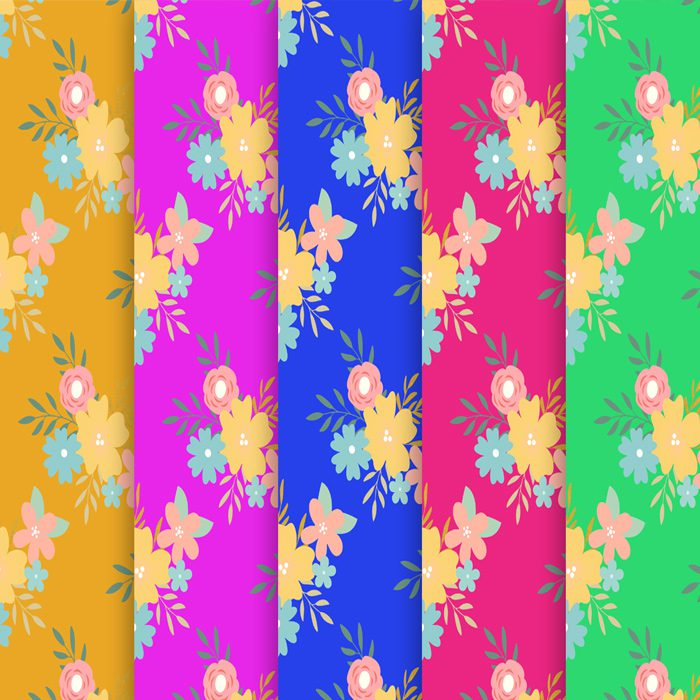 Colorful Floral Spring Scrapbooking Paper