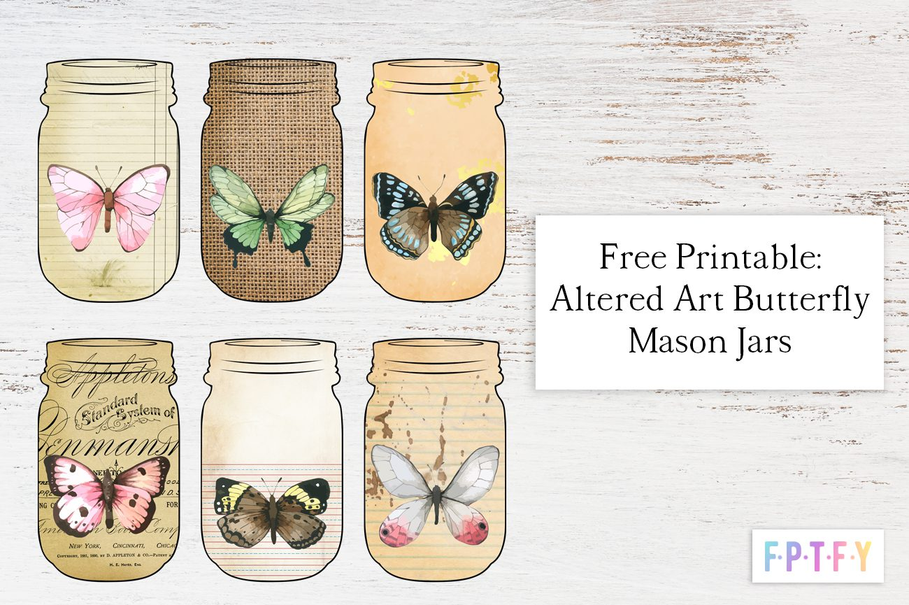 Free Printable Altered Art Butterfly Mason Jars