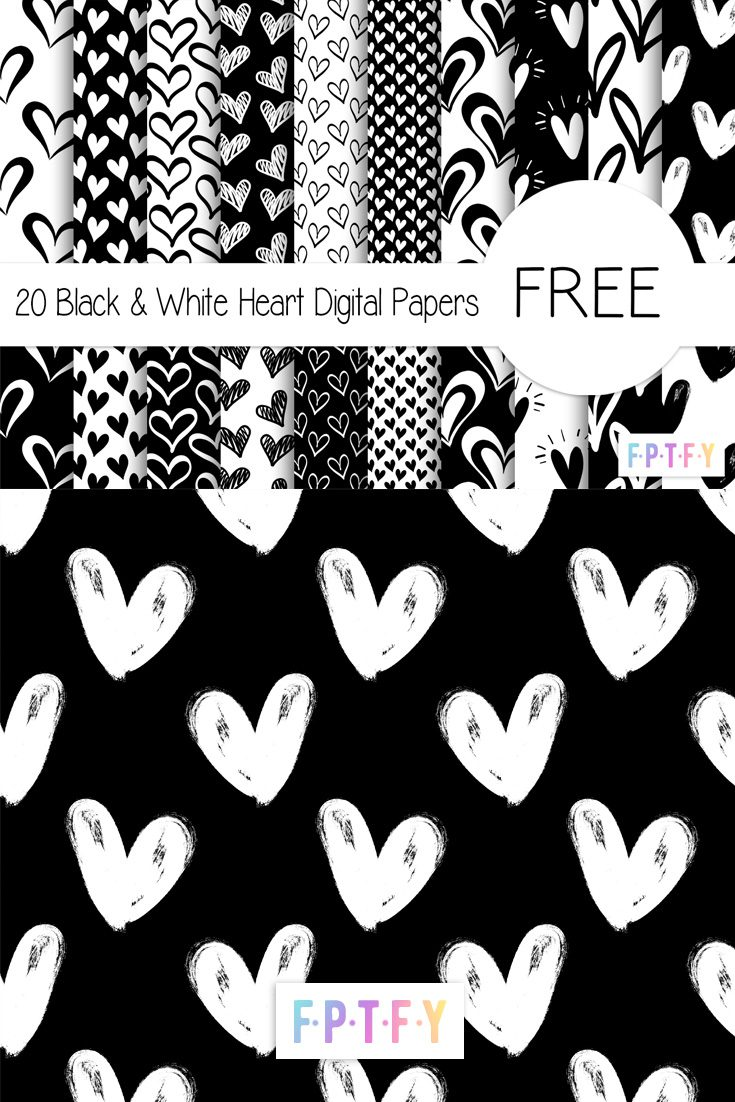 Black and White Heart Digital Papers